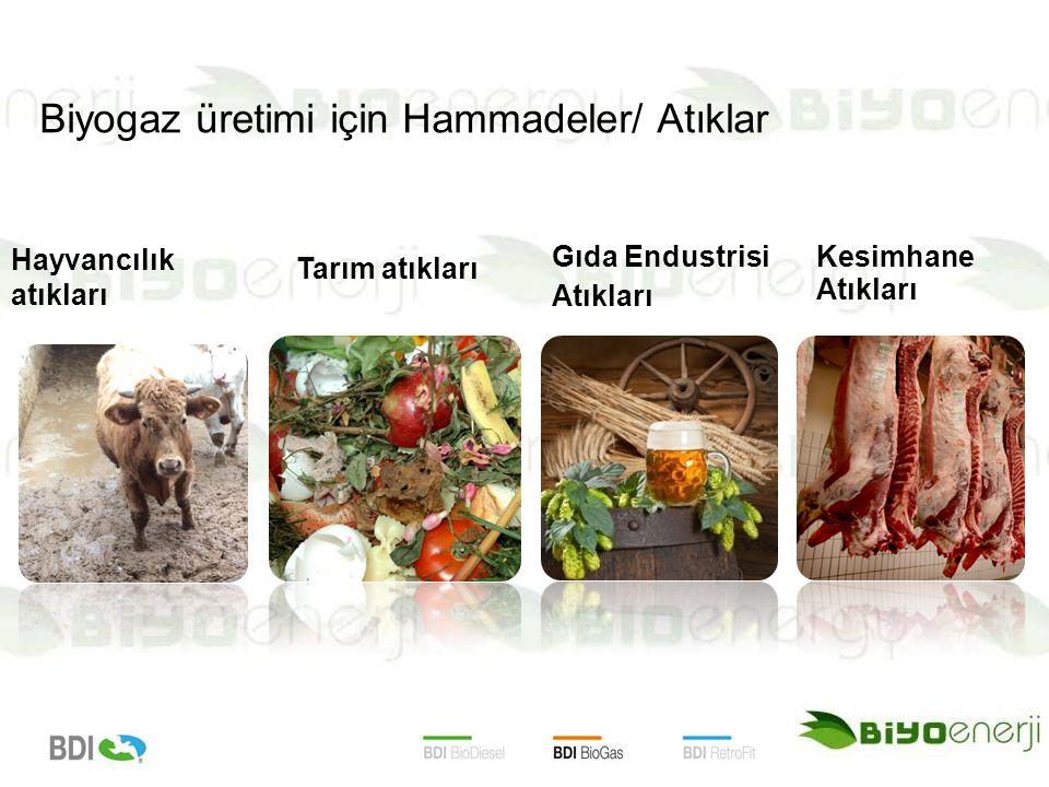Hayvancılık atıkları Tarım atıkları Gıda Endustrisi Atıkları Kesimhane Atıkları Biyogaz üretimi için Hammadeler/ Atıklar