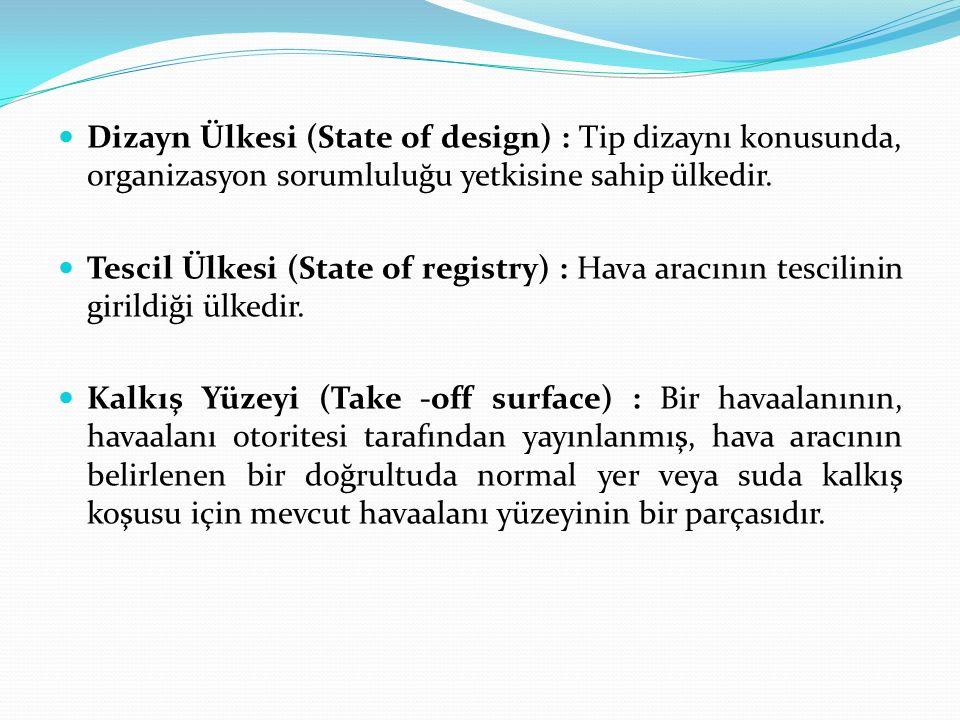 Dizayn Ülkesi (State of design) : Tip dizaynı konusunda, organizasyon sorumluluğu yetkisine sahip ülkedir. Tescil Ülkesi (State of registry) : Hava ar