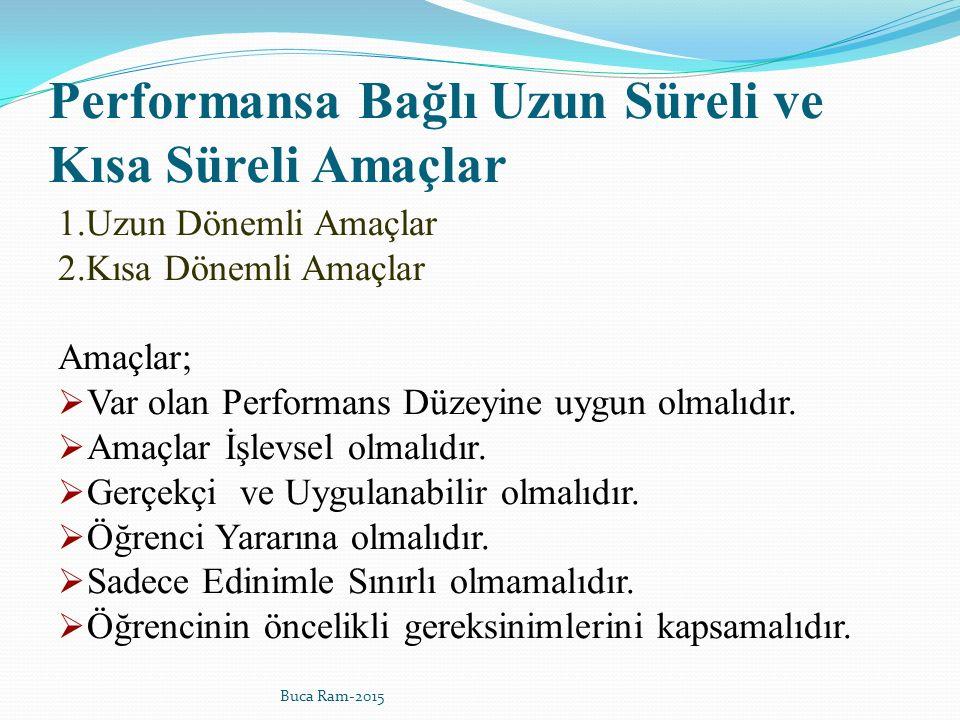 Performansa Bağlı Uzun Süreli ve Kısa Süreli Amaçlar 1.Uzun Dönemli Amaçlar 2.Kısa Dönemli Amaçlar Amaçlar;  Var olan Performans Düzeyine uygun olmalıdır.