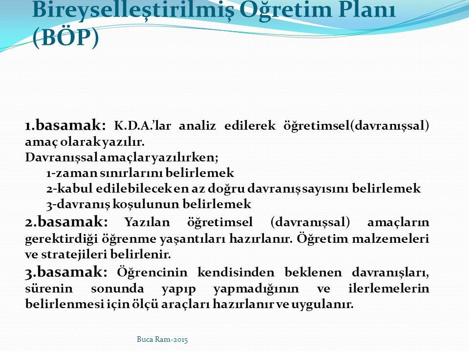 Bireyselleştirilmiş Öğretim Planı (BÖP) 1.basamak: K.D.A.'lar analiz edilerek öğretimsel(davranışsal) amaç olarak yazılır.
