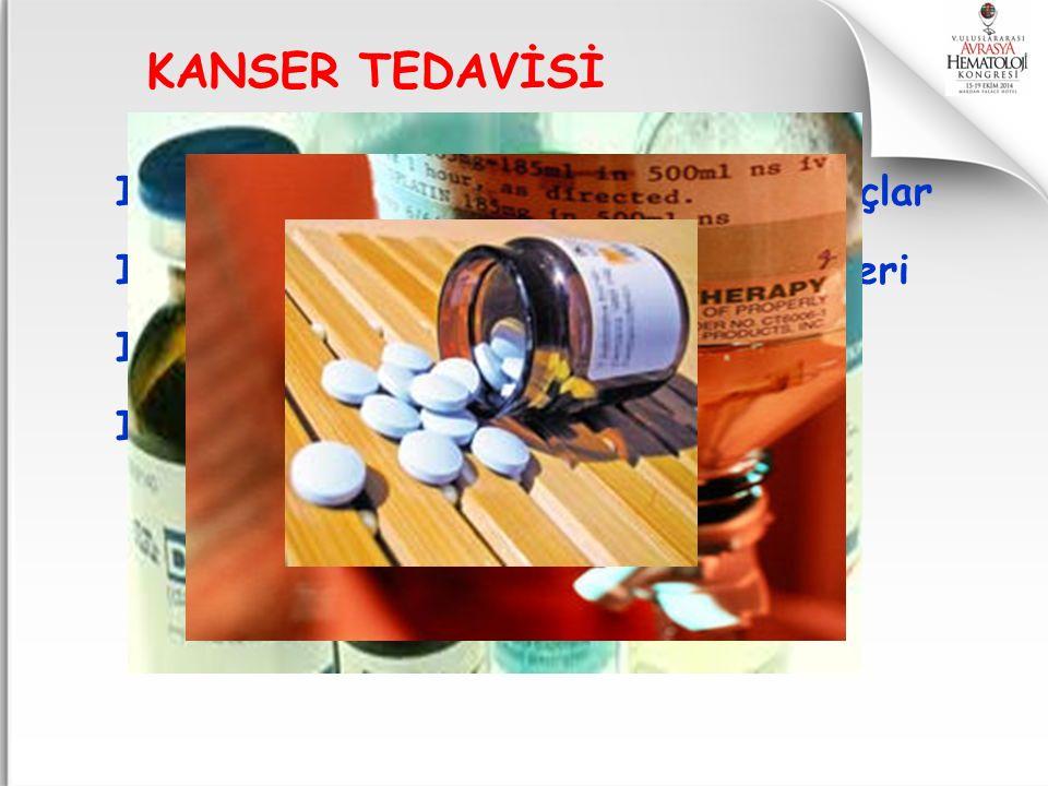 I. Kemoterapi ilaçları=Sitotoksik ilaçlar II. Hormonlar ve hormon antagonistleri III. Radyoizotoplar IV. Hedef tedaviler=Biyolojik tedavi Biyoterapi=İ