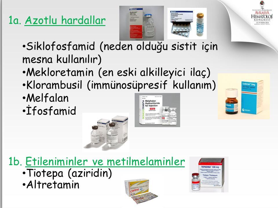 1a. Azotlu hardallar Siklofosfamid (neden olduğu sistit için mesna kullanılır) Mekloretamin (en eski alkilleyici ilaç) Klorambusil (immünosüpresif kul