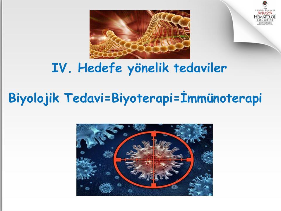 IV. Hedefe yönelik tedaviler Biyolojik Tedavi=Biyoterapi=İmmünoterapi