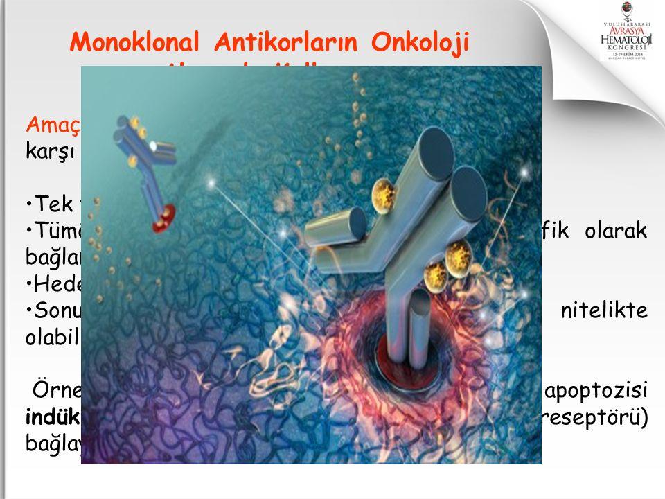Amaç : Tümör hücrelerinin yüzey antijenlerine karşı yanıt oluşturmaktır. Tek tip immünglobilin yapısı gösterirler. Tümör hücrelerinin belirli bir bölg