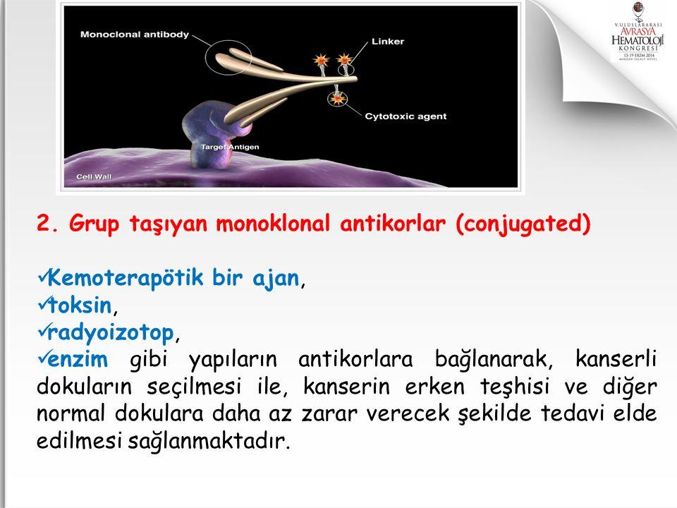 2. Grup taşıyan monoklonal antikorlar (conjugated) Kemoterapötik bir ajan, toksin, radyoizotop, enzim gibi yapıların antikorlara bağlanarak, kanserli