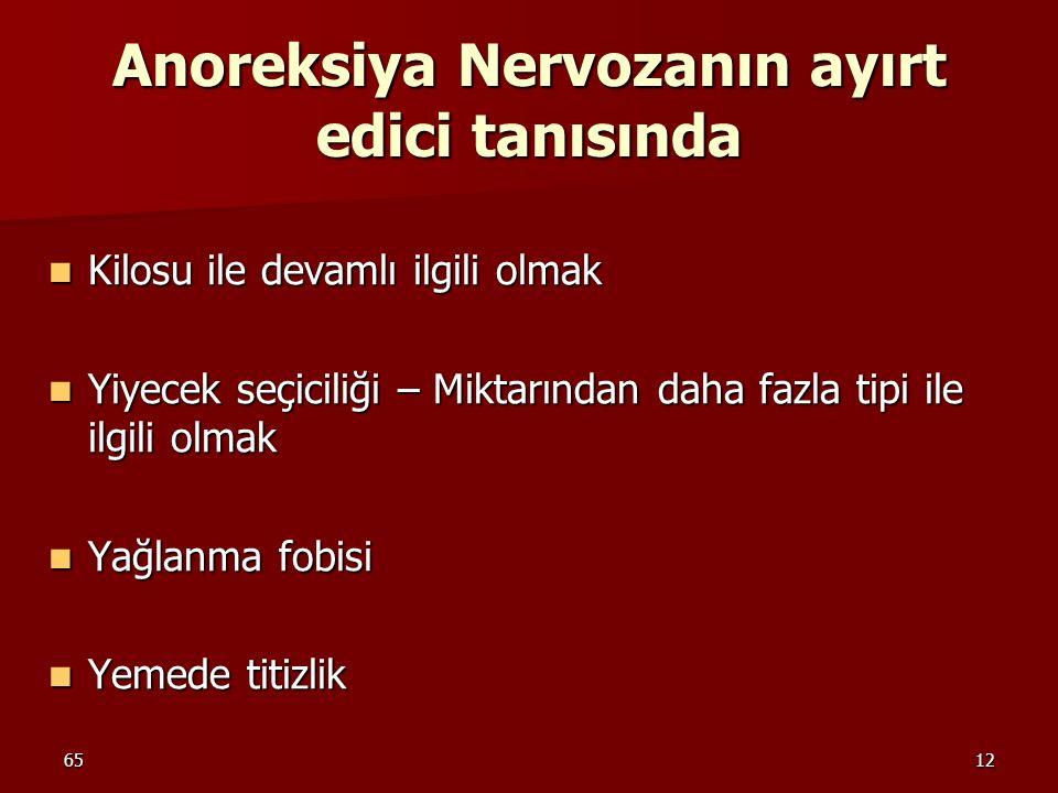 6512 Anoreksiya Nervozanın ayırt edici tanısında Kilosu ile devamlı ilgili olmak Kilosu ile devamlı ilgili olmak Yiyecek seçiciliği – Miktarından daha
