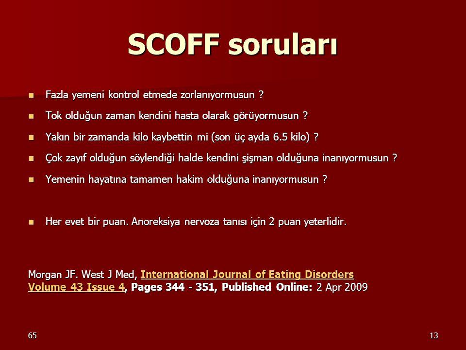 6513 SCOFF soruları Fazla yemeni kontrol etmede zorlanıyormusun ? Fazla yemeni kontrol etmede zorlanıyormusun ? Tok olduğun zaman kendini hasta olarak