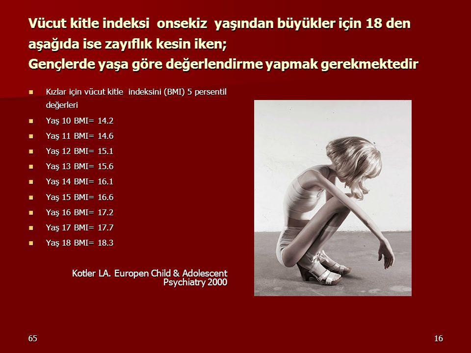 6516 Vücut kitle indeksi onsekiz yaşından büyükler için 18 den aşağıda ise zayıflık kesin iken; Gençlerde yaşa göre değerlendirme yapmak gerekmektedir