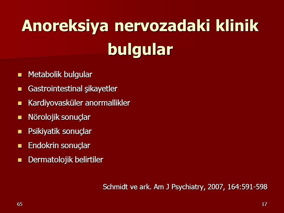 6517 Anoreksiya nervozadaki klinik bulgular Metabolik bulgular Metabolik bulgular Gastrointestinal şikayetler Gastrointestinal şikayetler Kardiyovaskü