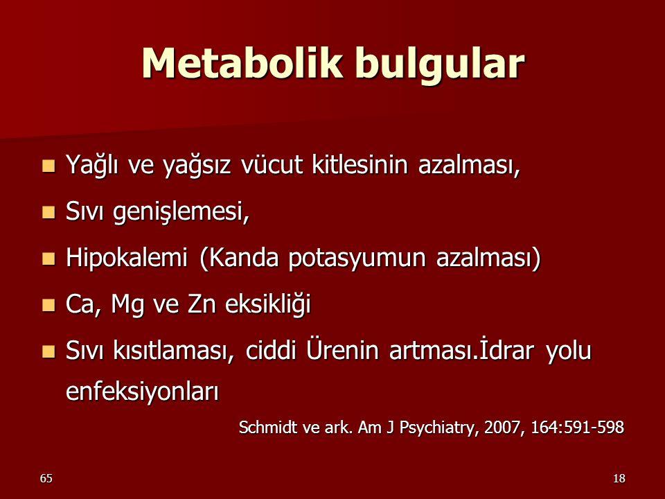 6518 Metabolik bulgular Yağlı ve yağsız vücut kitlesinin azalması, Yağlı ve yağsız vücut kitlesinin azalması, Sıvı genişlemesi, Sıvı genişlemesi, Hipo
