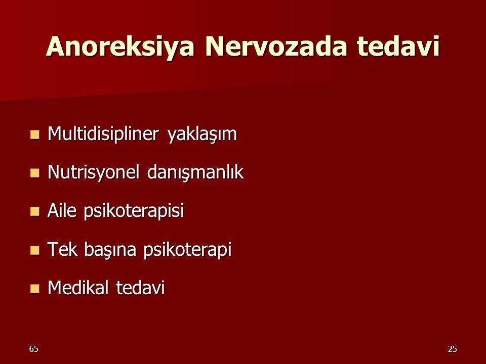 6525 Anoreksiya Nervozada tedavi Multidisipliner yaklaşım Multidisipliner yaklaşım Nutrisyonel danışmanlık Nutrisyonel danışmanlık Aile psikoterapisi