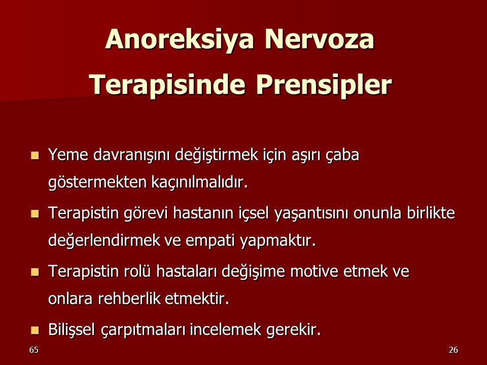 6526 Anoreksiya Nervoza Terapisinde Prensipler Yeme davranışını değiştirmek için aşırı çaba göstermekten kaçınılmalıdır. Yeme davranışını değiştirmek