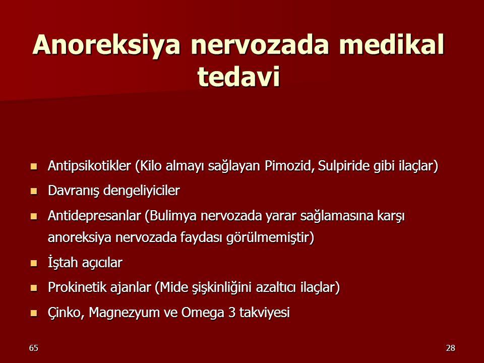 6528 Anoreksiya nervozada medikal tedavi Antipsikotikler (Kilo almayı sağlayan Pimozid, Sulpiride gibi ilaçlar) Antipsikotikler (Kilo almayı sağlayan