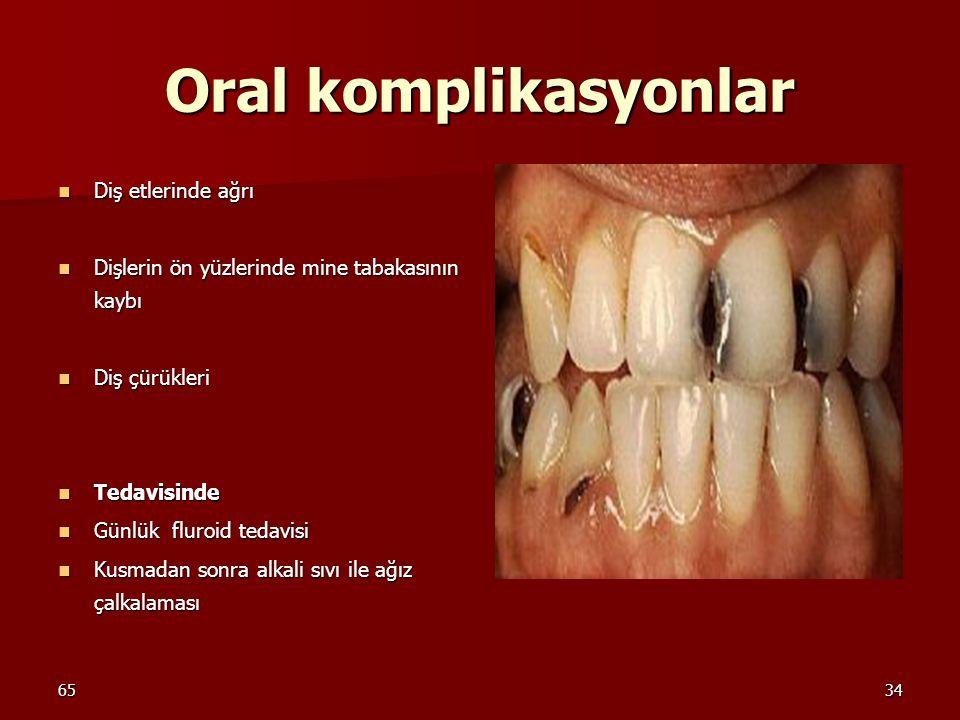 6534 Oral komplikasyonlar Diş etlerinde ağrı Diş etlerinde ağrı Dişlerin ön yüzlerinde mine tabakasının kaybı Dişlerin ön yüzlerinde mine tabakasının