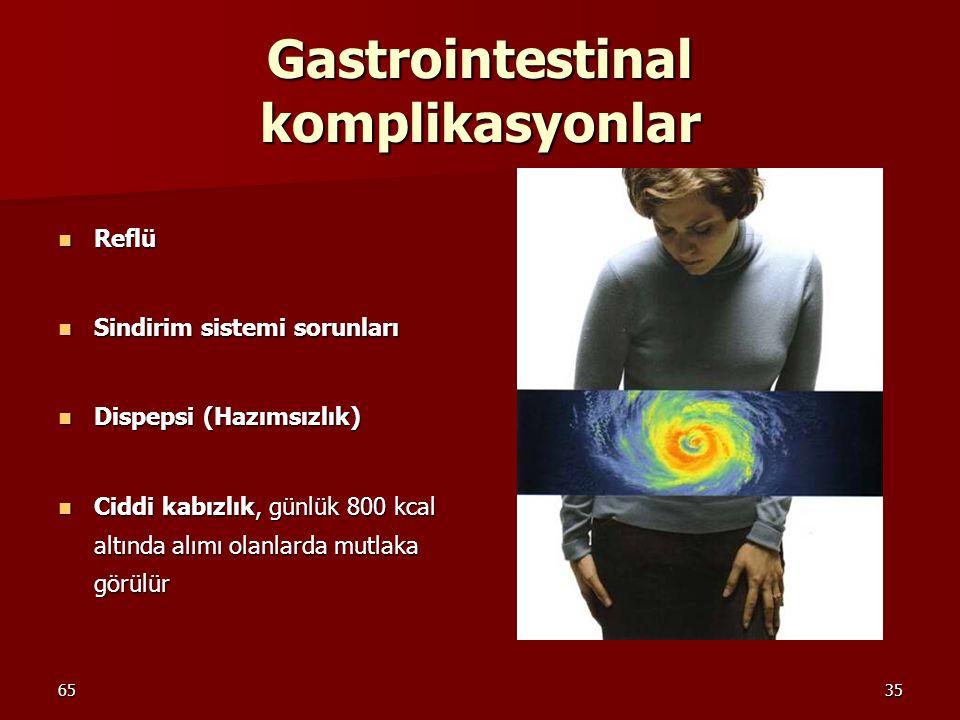 6535 Gastrointestinal komplikasyonlar Reflü Reflü Sindirim sistemi sorunları Sindirim sistemi sorunları Dispepsi (Hazımsızlık) Dispepsi (Hazımsızlık)