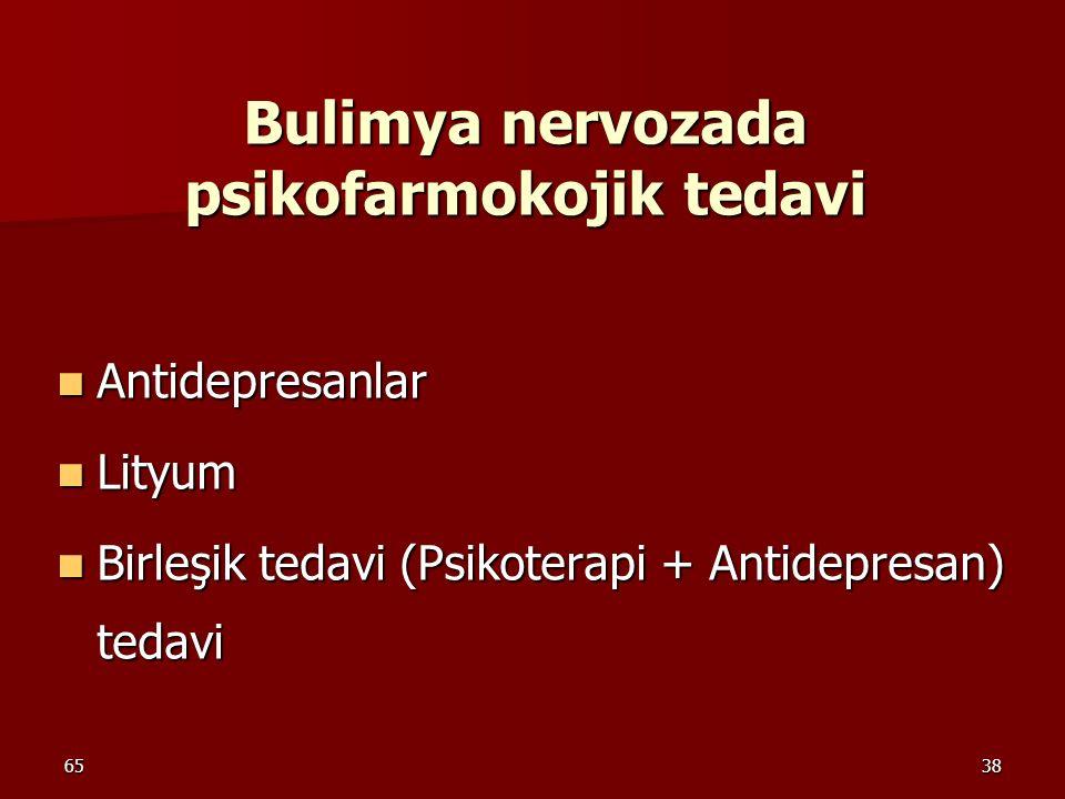 6538 Bulimya nervozada psikofarmokojik tedavi Antidepresanlar Antidepresanlar Lityum Lityum Birleşik tedavi (Psikoterapi + Antidepresan) tedavi Birleş