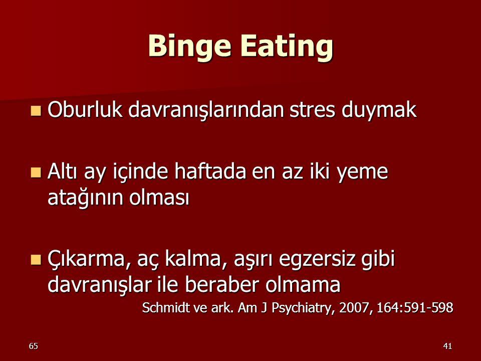 6541 Binge Eating Oburluk davranışlarından stres duymak Oburluk davranışlarından stres duymak Altı ay içinde haftada en az iki yeme atağının olması Al