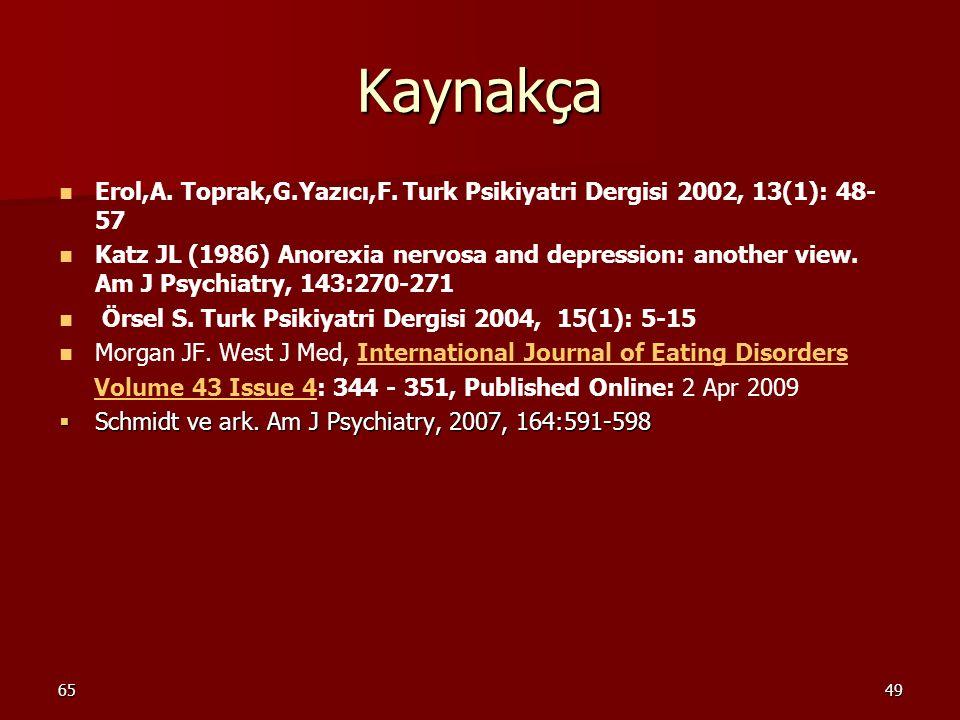 6549 Kaynakça Erol,A. Toprak,G.Yazıcı,F. Turk Psikiyatri Dergisi 2002, 13(1): 48- 57 Katz JL (1986) Anorexia nervosa and depression: another view. Am