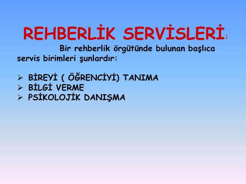 REHBERLİK SERVİSLERİ : Bir rehberlik örgütünde bulunan başlıca servis birimleri şunlardır:  BİREYİ ( ÖĞRENCİYİ) TANIMA  BİLGİ VERME  PSİKOLOJİK DANIŞMA