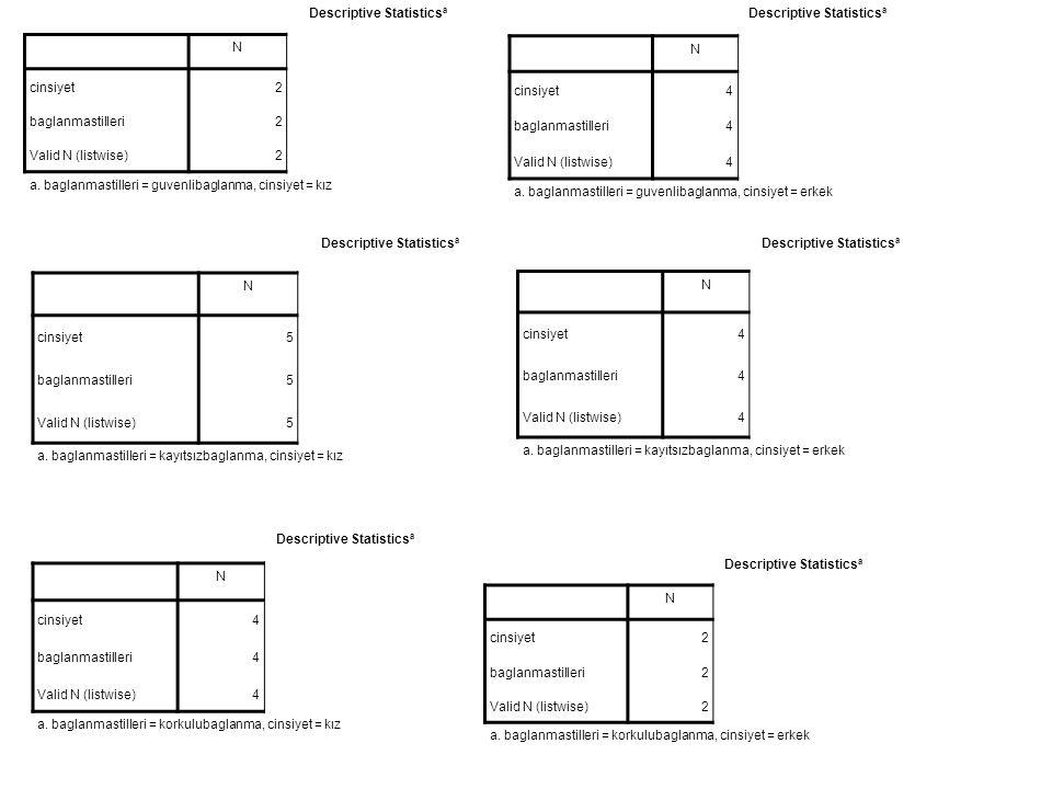 Descriptive Statistics a N cinsiyet2 baglanmastilleri2 Valid N (listwise)2 a.