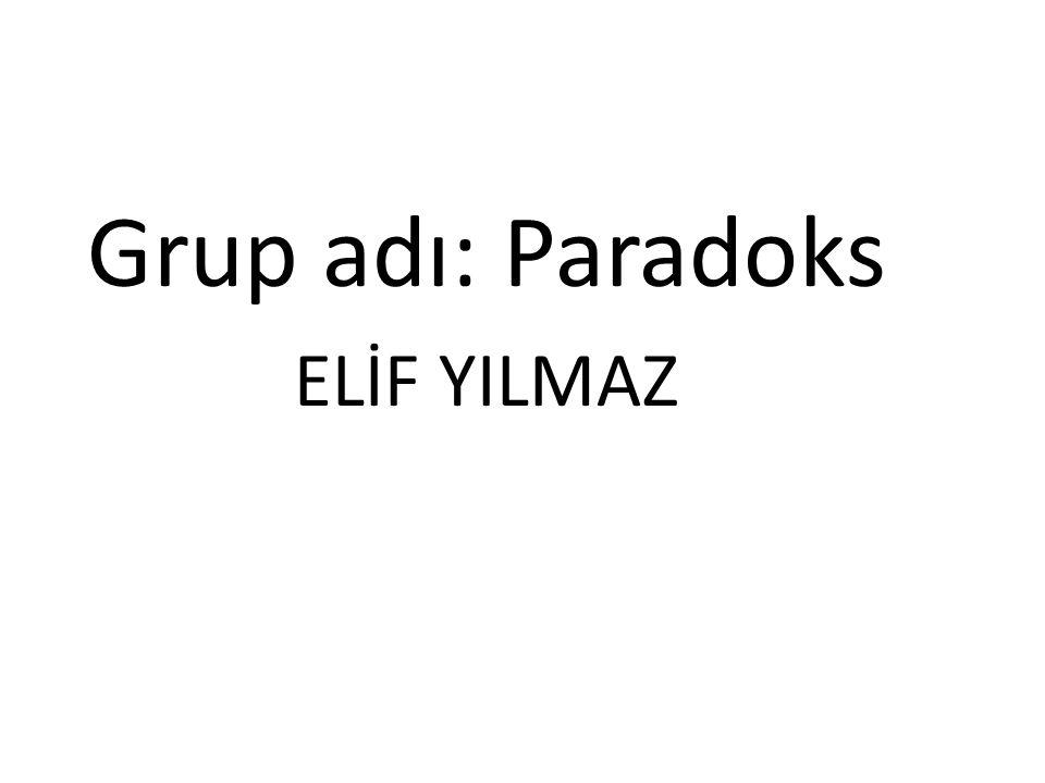 Grup adı: Paradoks ELİF YILMAZ