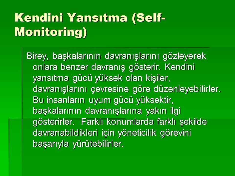 Kendini Yansıtma (Self- Monitoring) Birey, başkalarının davranışlarını gözleyerek onlara benzer davranış gösterir. Kendini yansıtma gücü yüksek olan k