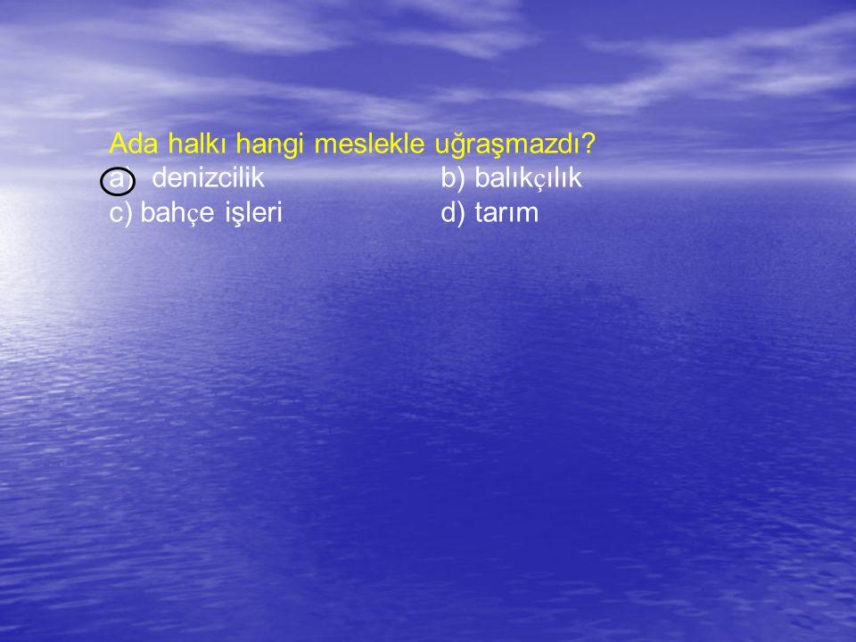 Ada halkı hangi meslekle uğraşmazdı? a)denizcilik b) balık ç ılık c) bah ç e işleri d) tarım