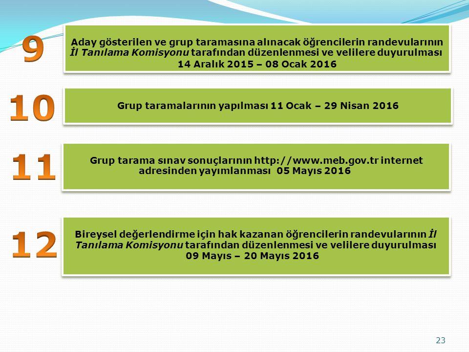 23 Aday gösterilen ve grup taramasına alınacak öğrencilerin randevularının İl Tanılama Komisyonu tarafından düzenlenmesi ve velilere duyurulması 14 Aralık 2015 – 08 Ocak 2016 Aday gösterilen ve grup taramasına alınacak öğrencilerin randevularının İl Tanılama Komisyonu tarafından düzenlenmesi ve velilere duyurulması 14 Aralık 2015 – 08 Ocak 2016 Grup tarama sınav sonuçlarının http://www.meb.gov.tr internet adresinden yayımlanması 05 Mayıs 2016 Grup taramalarının yapılması 11 Ocak – 29 Nisan 2016 Bireysel değerlendirme için hak kazanan öğrencilerin randevularının İl Tanılama Komisyonu tarafından düzenlenmesi ve velilere duyurulması 09 Mayıs – 20 Mayıs 2016 Bireysel değerlendirme için hak kazanan öğrencilerin randevularının İl Tanılama Komisyonu tarafından düzenlenmesi ve velilere duyurulması 09 Mayıs – 20 Mayıs 2016