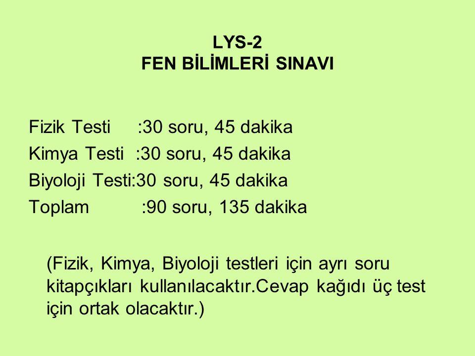 LYS-2 FEN BİLİMLERİ SINAVI Fizik Testi :30 soru, 45 dakika Kimya Testi :30 soru, 45 dakika Biyoloji Testi:30 soru, 45 dakika Toplam :90 soru, 135 daki