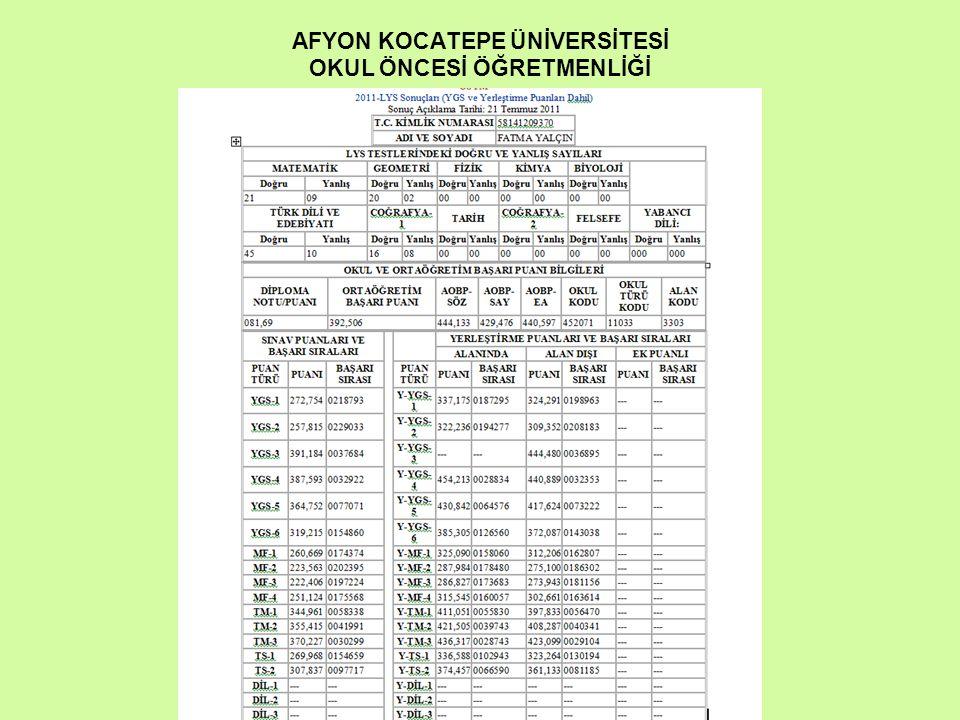 AFYON KOCATEPE ÜNİVERSİTESİ OKUL ÖNCESİ ÖĞRETMENLİĞİ
