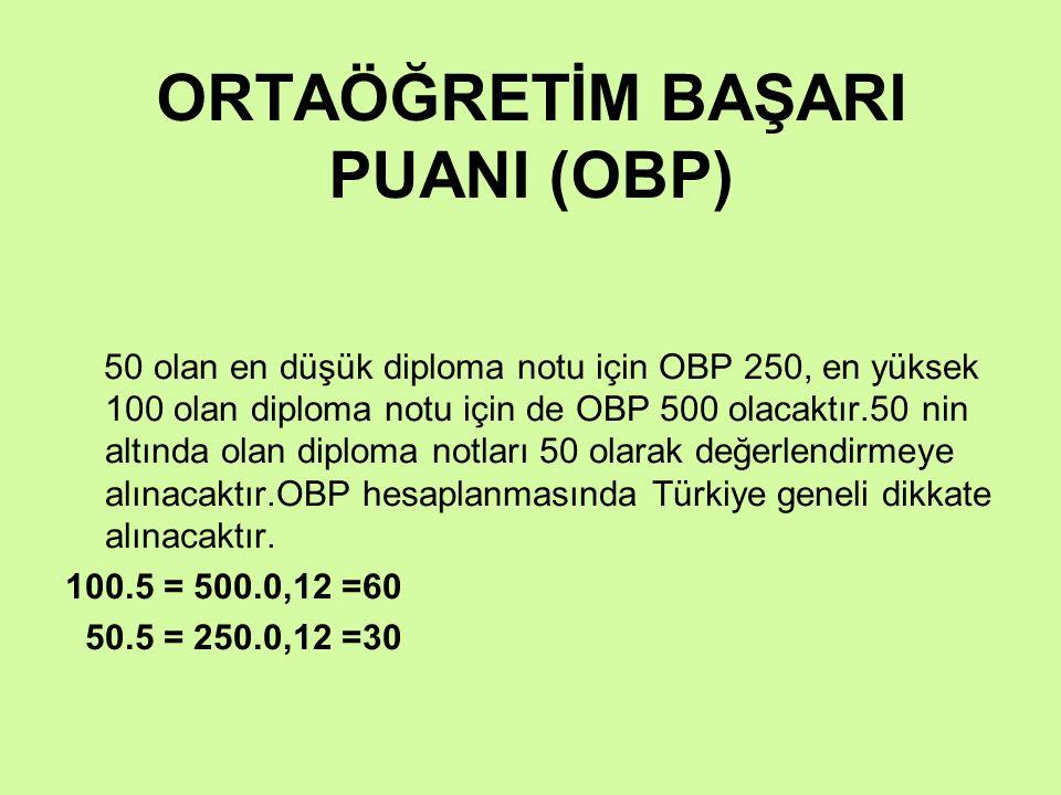 ORTAÖĞRETİM BAŞARI PUANI (OBP) 50 olan en düşük diploma notu için OBP 250, en yüksek 100 olan diploma notu için de OBP 500 olacaktır.50 nin altında ol