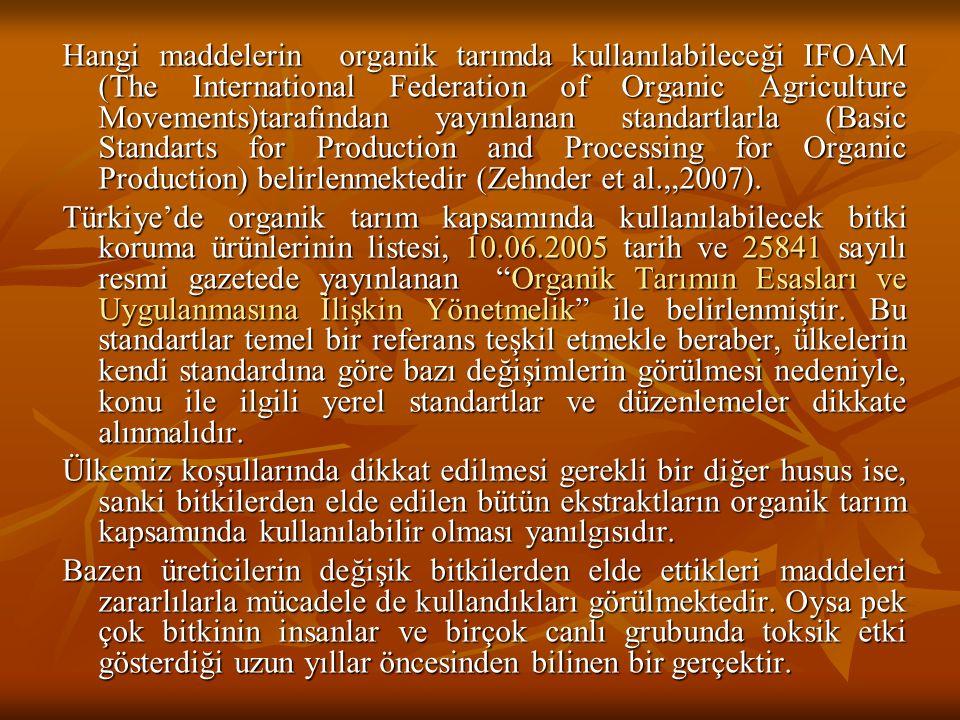 Hangi maddelerin organik tarımda kullanılabileceği IFOAM (The International Federation of Organic Agriculture Movements)tarafından yayınlanan standart