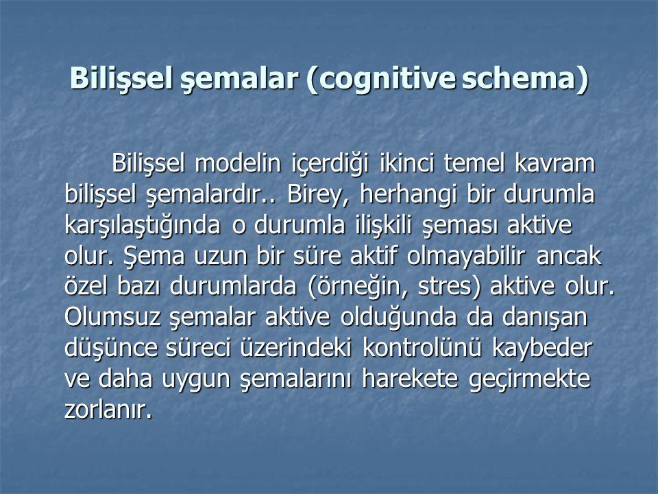 Bilişsel şemalar (cognitive schema) Bilişsel modelin içerdiği ikinci temel kavram bilişsel şemalardır.. Birey, herhangi bir durumla karşılaştığında o