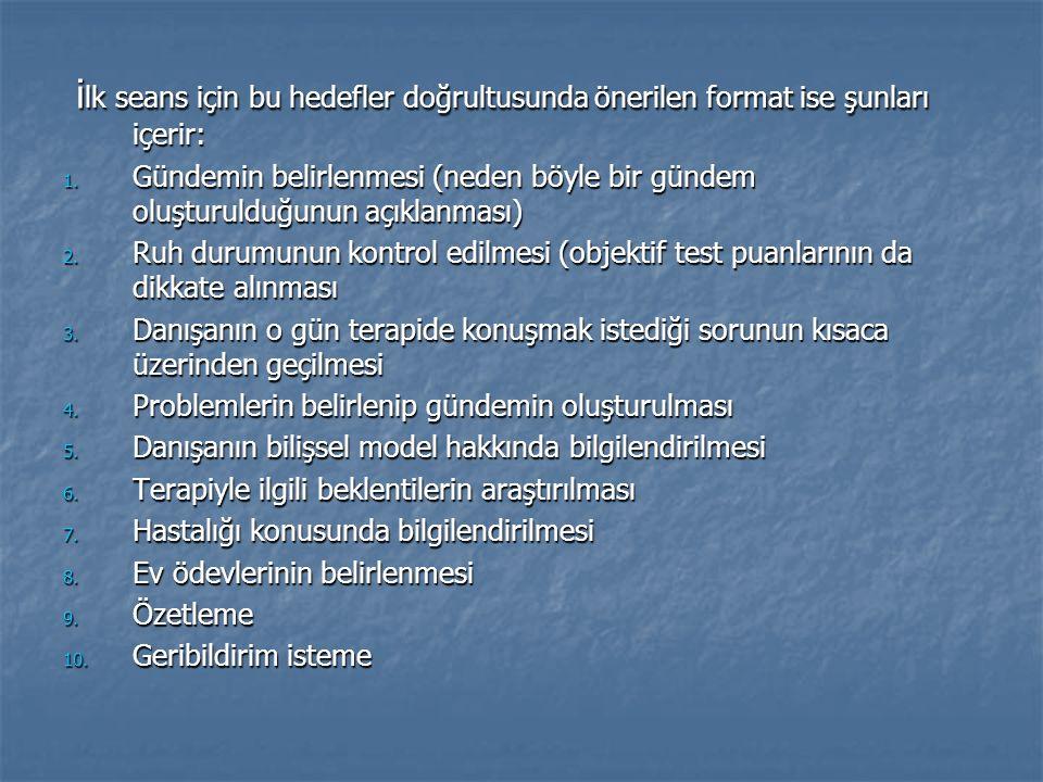 i lk seans için bu hedefler doğrultusunda önerilen format ise şunları içerir: i lk seans için bu hedefler doğrultusunda önerilen format ise şunları içerir: 1.
