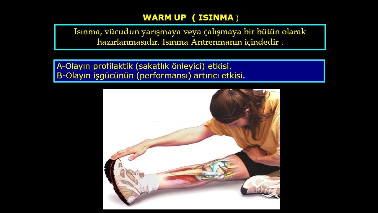 WARM UP ( ISINMA ) A-Olayın profilaktik (sakatlık önleyici) etkisi. B-Olayın işgücünün (performansı) artırıcı etkisi. Isınma, vücudun yarışmaya veya ç