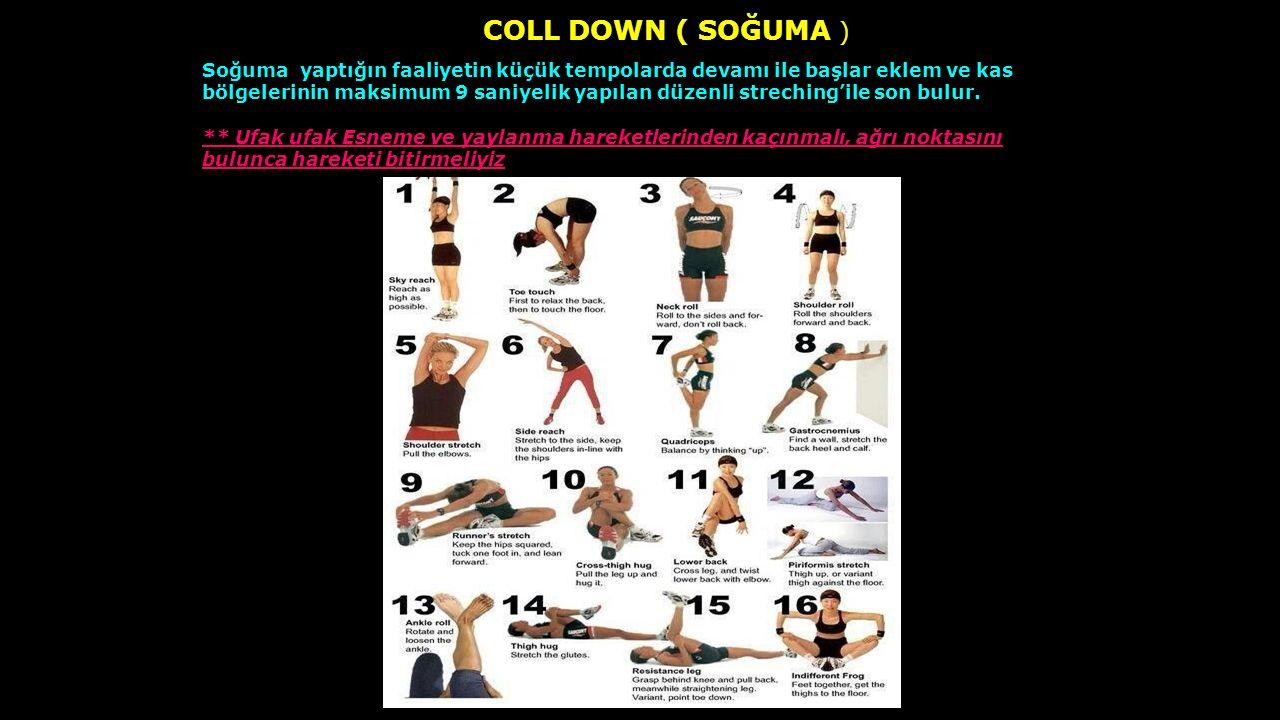 COLL DOWN ( SOĞUMA ) Soğuma yaptığın faaliyetin küçük tempolarda devamı ile başlar eklem ve kas bölgelerinin maksimum 9 saniyelik yapılan düzenli stre