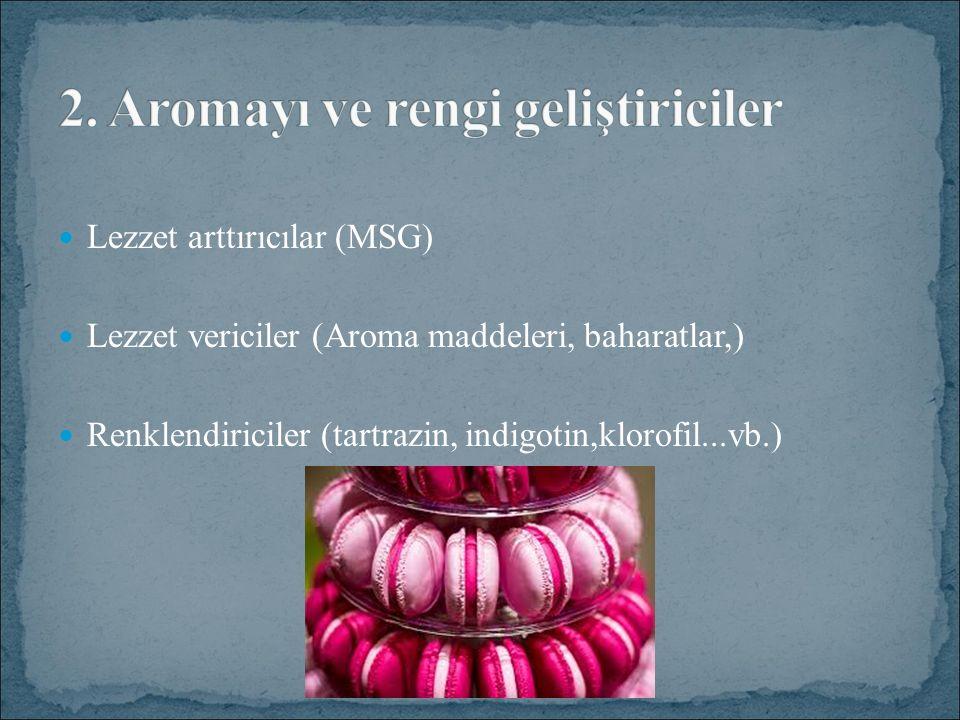Lezzet arttırıcılar (MSG) Lezzet vericiler (Aroma maddeleri, baharatlar,) Renklendiriciler (tartrazin, indigotin,klorofil...vb.)