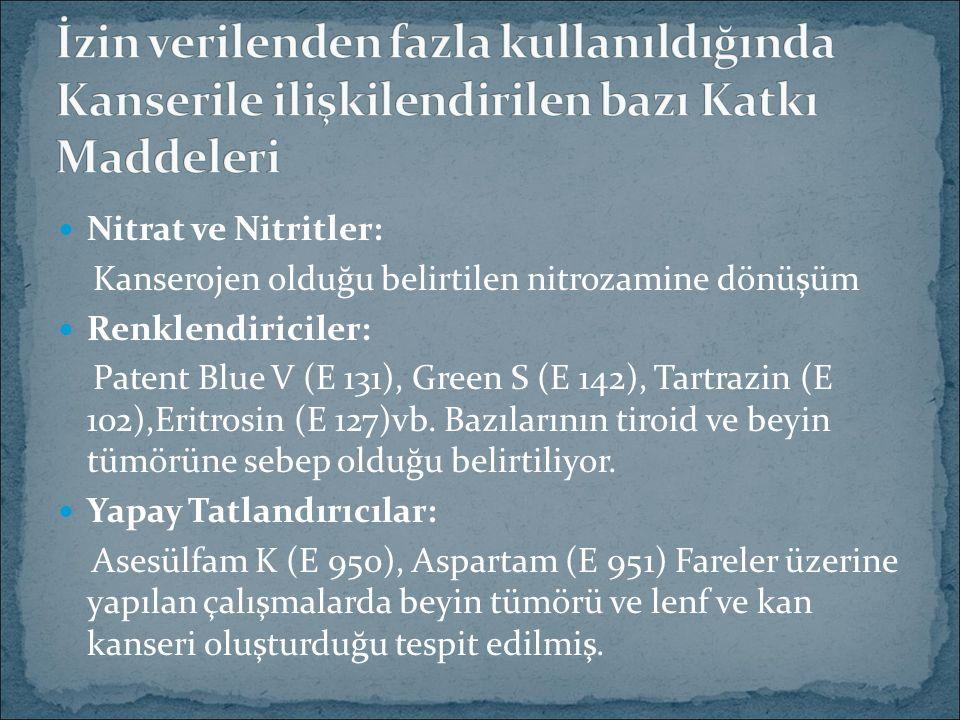 Nitrat ve Nitritler: Kanserojen olduğu belirtilen nitrozamine dönüşüm Renklendiriciler: Patent Blue V (E 131), Green S (E 142), Tartrazin (E 102),Eritrosin (E 127)vb.