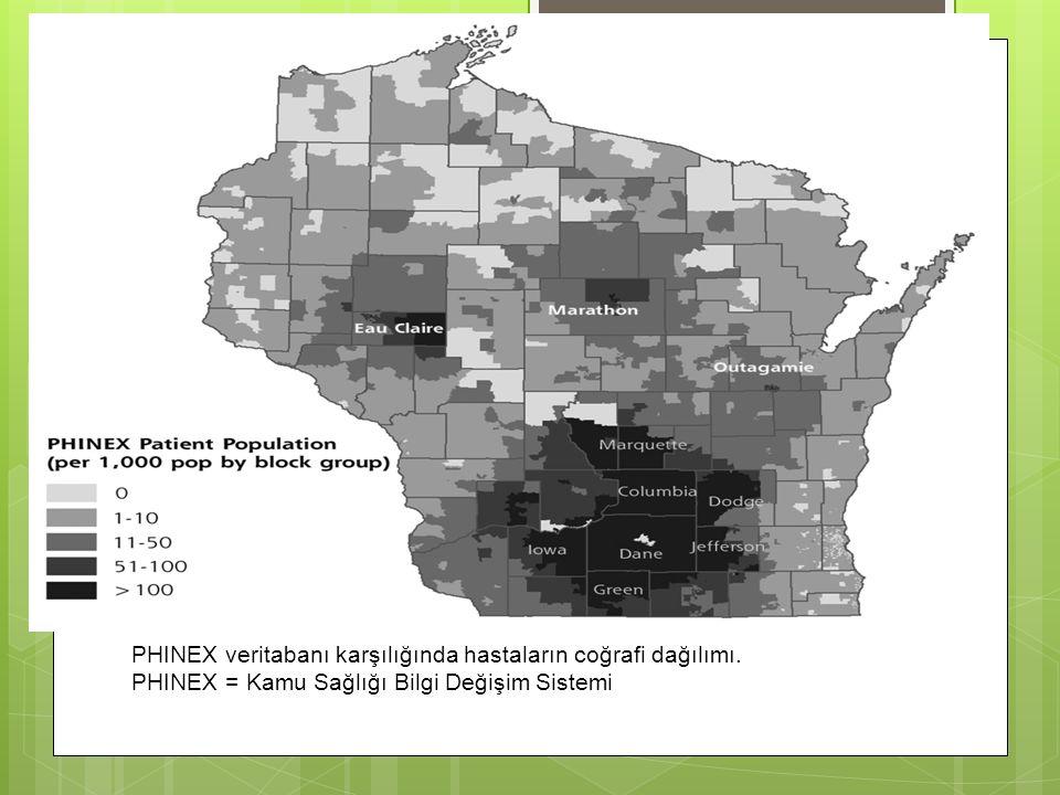 PHINEX veritabanı karşılığında hastaların coğrafi dağılımı.