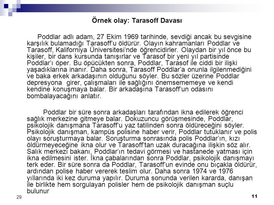 11 29 Örnek olay: Tarasoff Davası Poddlar adlı adam, 27 Ekim 1969 tarihinde, sevdiği ancak bu sevgisine karşılık bulamadığı Tarasoff'u öldürür. Olayın