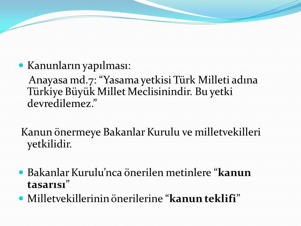 """Kanunların yapılması: Anayasa md.7: """"Yasama yetkisi Türk Milleti adına Türkiye Büyük Millet Meclisinindir. Bu yetki devredilemez."""" Kanun önermeye Baka"""