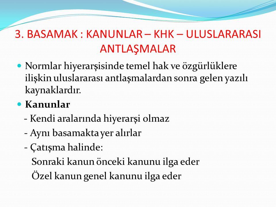 Kanunların yapılması: Anayasa md.7: Yasama yetkisi Türk Milleti adına Türkiye Büyük Millet Meclisinindir.