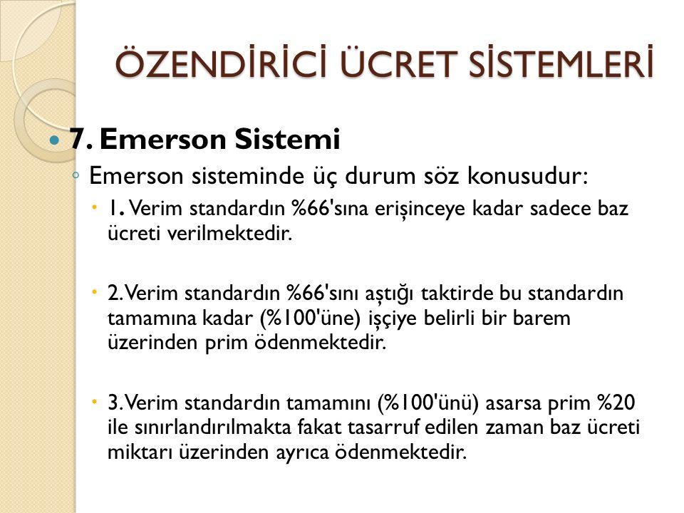 ÖZEND İ R İ C İ ÜCRET S İ STEMLER İ 7. Emerson Sistemi ◦ Emerson sisteminde üç durum söz konusudur:  1. Verim standardın %66'sına erişinceye kadar sa