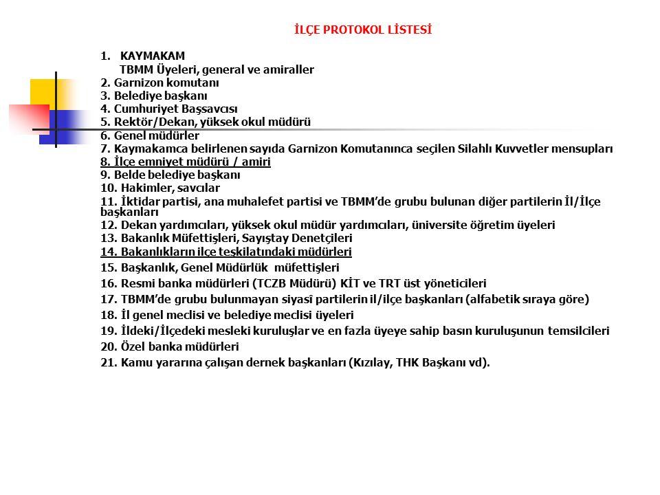 T.C.İL PROTOKOL LİSTESİ 1. Vali 2. Orgeneral, oramiraller; TBMM üyeleri 3.