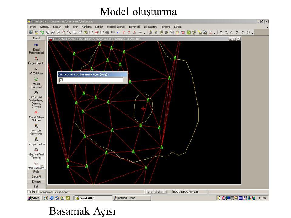 Model oluşturma Basamak Açısı