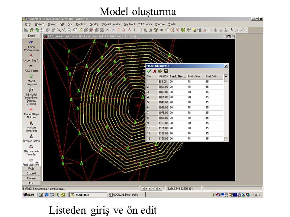 Model oluşturma Listeden giriş ve ön edit