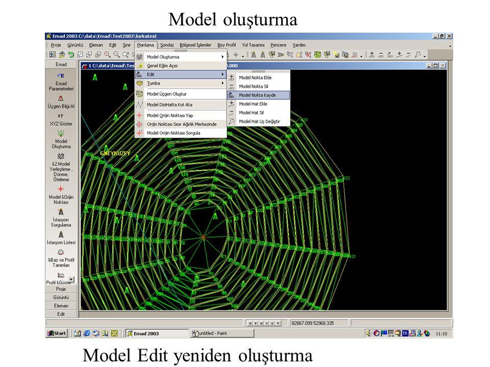 Model oluşturma Model Edit yeniden oluşturma