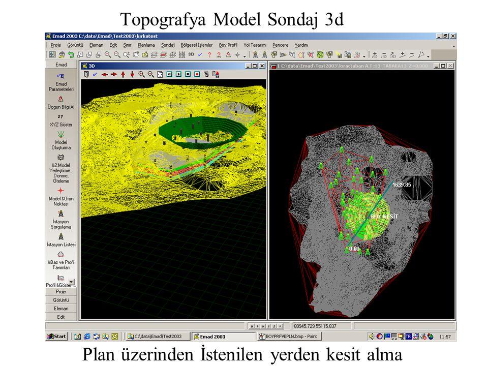 Topografya Model Sondaj 3d Plan üzerinden İstenilen yerden kesit alma