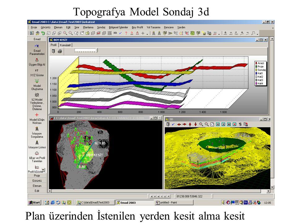 Topografya Model Sondaj 3d Plan üzerinden İstenilen yerden kesit alma kesit grafiği