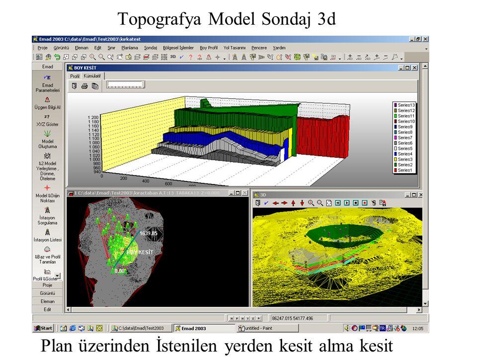Topografya Model Sondaj 3d Plan üzerinden İstenilen yerden kesit alma kesit grafiği 2
